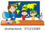 teacher and two students in... | Shutterstock .eps vector #571215085