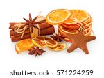 dried oranges  star anise ... | Shutterstock . vector #571224259