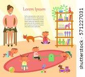 happy childhood banner. baby... | Shutterstock .eps vector #571227031