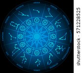 astronomy of zodiac circle with ... | Shutterstock .eps vector #571228525
