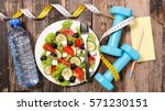 diet food and fitness concept | Shutterstock . vector #571230151