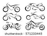 set of black vector motorcycles ... | Shutterstock .eps vector #571233445