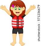funny girl cartoon wearing life ...   Shutterstock .eps vector #571236679