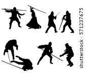 Set Of Silhouettes Of Fighters...