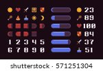 pixel art game interface... | Shutterstock .eps vector #571251304