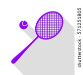 tennis racquet sign. violet... | Shutterstock .eps vector #571251805