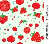red fruit. pattern. | Shutterstock .eps vector #571253671