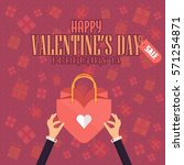 flat style valentines day sale... | Shutterstock .eps vector #571254871