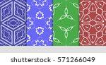set of original floral  linear... | Shutterstock .eps vector #571266049