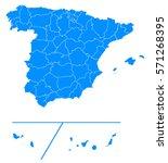 spain provinces blue map | Shutterstock .eps vector #571268395