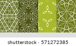 set of color floral  linear... | Shutterstock .eps vector #571272385