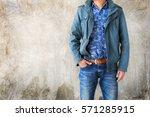 closeup men casual outfits... | Shutterstock . vector #571285915