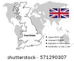 great britain flag on map in... | Shutterstock .eps vector #571290307