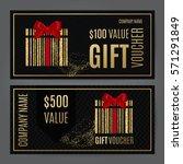 gift voucher template. vector... | Shutterstock .eps vector #571291849