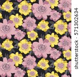 yellow and rosy stylized floral ... | Shutterstock .eps vector #571302634