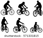 Bicyclists Silhouettes Set  ...