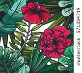 vector color tropical floral... | Shutterstock .eps vector #571334719