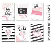 collection of 6 discount cards... | Shutterstock .eps vector #571344241