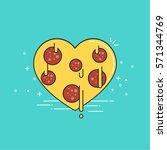 pizza heart. valentine's day.... | Shutterstock .eps vector #571344769