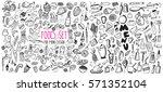 hand drawn food elements. set...   Shutterstock .eps vector #571352104