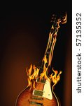 burning electric guitar | Shutterstock . vector #57135352