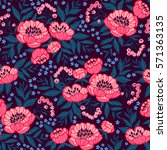 seamless floral pattern with... | Shutterstock .eps vector #571363135