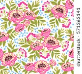 seamless floral pattern with... | Shutterstock .eps vector #571363141