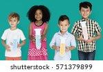 little children holding test... | Shutterstock . vector #571379899