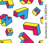 kawaii colorful game 3d blocks... | Shutterstock .eps vector #571380541