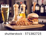 tasty grilled cheeseburger with ... | Shutterstock . vector #571382725