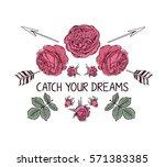 hand drawn boho style design... | Shutterstock .eps vector #571383385