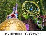 woman having a coffee break... | Shutterstock . vector #571384849