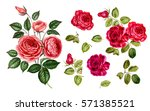 Stock photo red rose set vintage red roses in watercolor hand drawn flowers green leaves isolated red 571385521