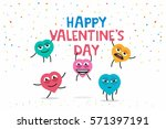 funny greeting card happy... | Shutterstock .eps vector #571397191
