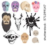 different style skulls faces... | Shutterstock .eps vector #571399147
