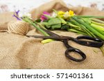 spring cut flower arrangement... | Shutterstock . vector #571401361