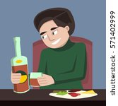 person drinking alone vector... | Shutterstock .eps vector #571402999