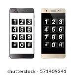 smartphone with digital keypad. ... | Shutterstock .eps vector #571409341