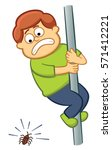 scared man jump to the pole... | Shutterstock .eps vector #571412221