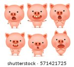 Emoji Pig Character Icon Set...