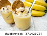 chia seeds pudding with banana... | Shutterstock . vector #571429234