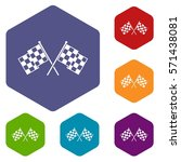 checkered racing flags icons... | Shutterstock .eps vector #571438081