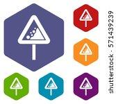falling rocks warning traffic... | Shutterstock .eps vector #571439239
