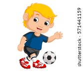 cartoon boy playing football | Shutterstock . vector #571441159