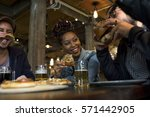 diverse people hang out pub... | Shutterstock . vector #571442905