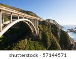 Rocky Creek Bridge is a reinforced concrete open-spandrel  arch bridge in California, built in 1932. - stock photo
