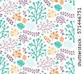 vector floral pattern in doodle ... | Shutterstock .eps vector #571446751