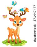 Cute baby deer and butterflies vector illustration