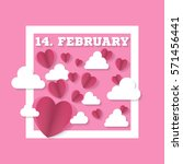 14 february sign with hearts... | Shutterstock .eps vector #571456441