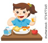 a little girl happy to eat... | Shutterstock .eps vector #571477165